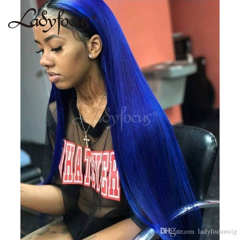 Pre Plucked Full Lace Wigs With Baby Hair Dark Blue