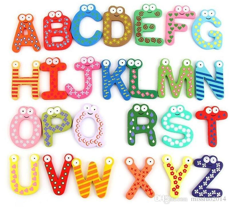 kitchen magnets remodel cost wholesale children kids english alphabet refrigerator big anti rust thickened baby wooden fridge magnet magnetic sticker
