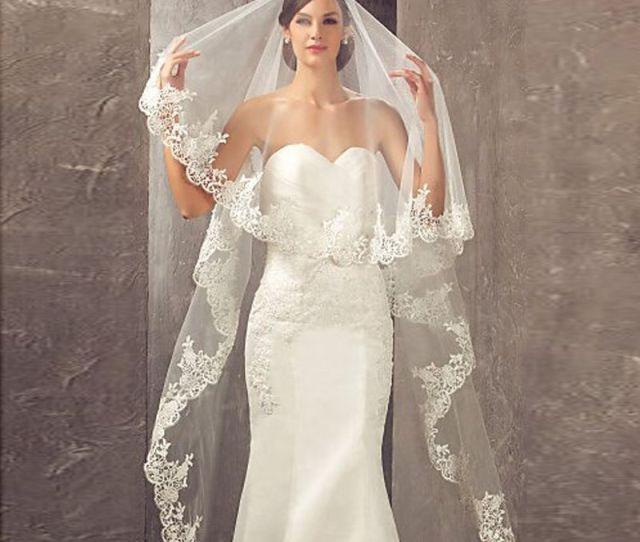 Best Selling  Meters Long Cheapest Chapel Length White Ivory Bridal Veil Lace Appliques  Veu De Noiva Longo Wedding Veil Cpa Veil For Wedding
