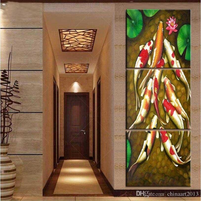 feng shui art for living room oak table sets 2019 vertical forms canvas koi fish chinese oil painting wall pictures posters and prints from chinaart2013 24 93 dhgate