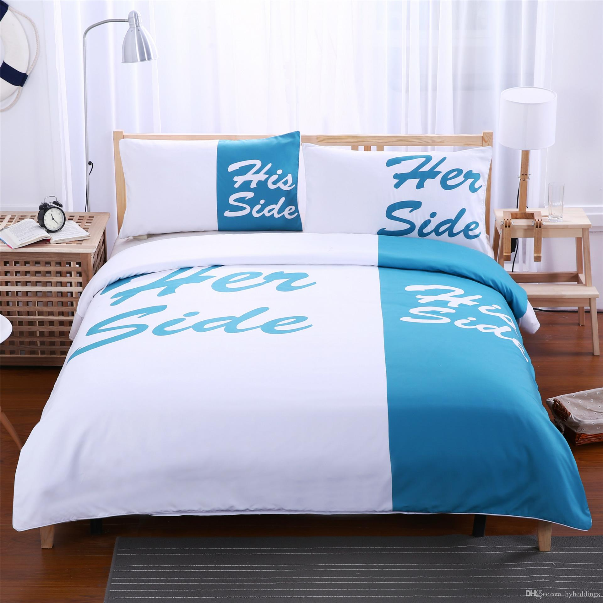 Bettwäsche Her Side His Side Light Blue And White Bedding Set His Side Her Side Couple Home Textiles Soft Duvet Cover With Pillowcases 3pcs Hot Sale