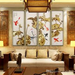 Metal Wall Art Decor For Living Room Kid Furniture 2019 Handmade Abstract Asian Lotus Flower Iron Framed Of Home Decorations Payment