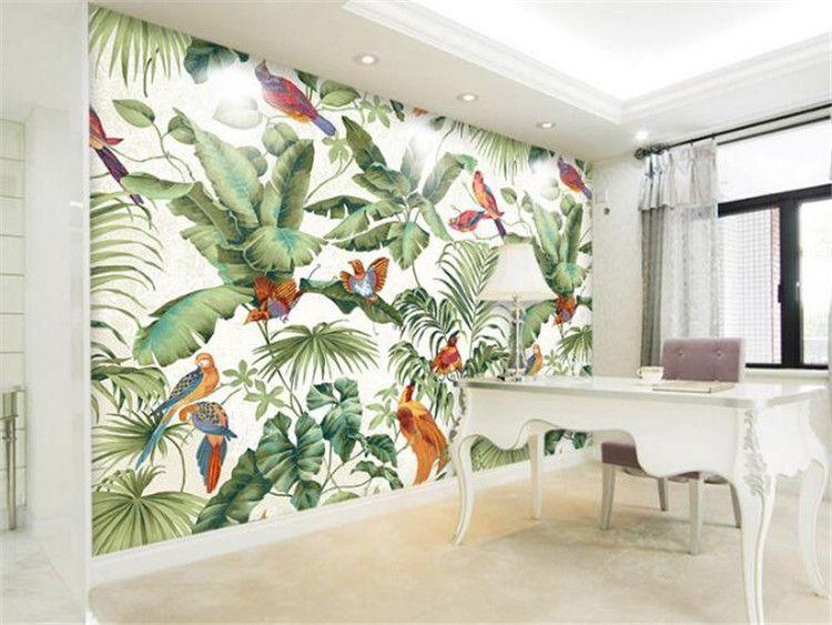 3D Stereo Tropical Garden Flower Bird Painting Style