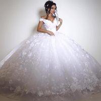 Dubai Lace Wedding Dresses 2018 Vintage Big Ball Gown