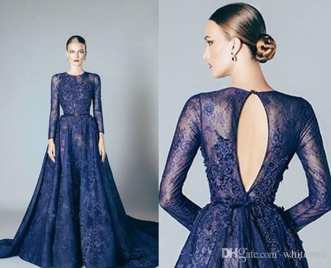 Navy Blue Evening Dresses Lace Formal 2016 Elie Saab Prom
