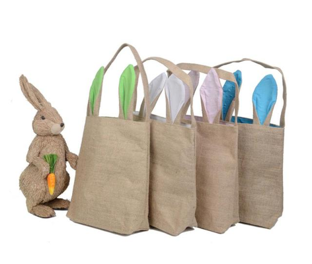 Funny Design Easter Bunny Bag Ears Bags Cotton Material Easter Burlap Celebration Gifts Christmas Bag Cotton Handbag  Bunny Bag Easter Bags Christmas