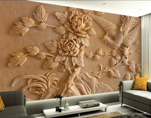 Chinese Stereo Relief Phoenix Peony Mural Tv Wall 3d