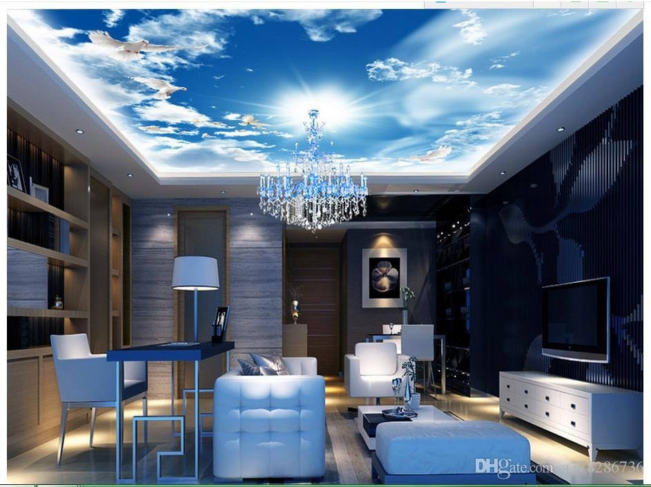 the living room with sky bar rooms in blue and brown high quality custom 3d ceiling wallpaper murals wall paper ktv decor free wallpapers