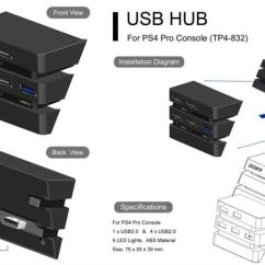 Usb 3 0 Micro B Wiring Diagram David Brown 990 New For Ps4 Pro Accessories Play Station 4 Host Hub 1 2 Ports