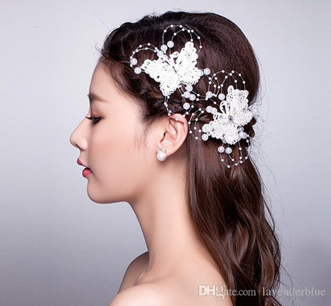 fashion red white lace hair butterfly hairpin accessories 2017 head womens handmade crystal hair accessory marriage wedding bridal veil