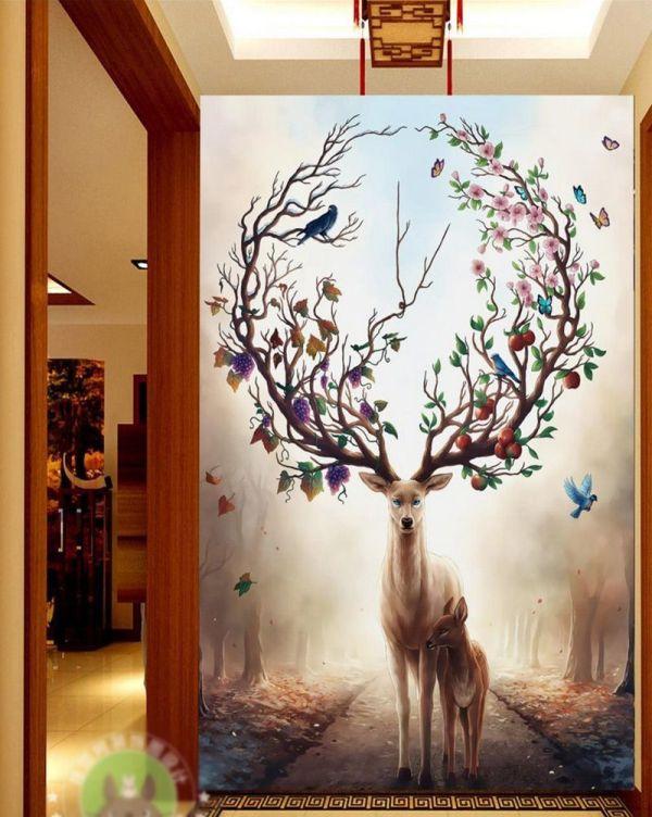Fantasy Wall Mural Forest Deer Wallpaper 3d 5d Vintage