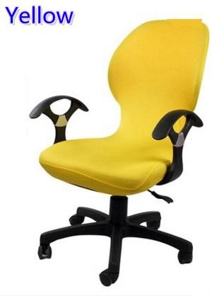 yellow chair covers cheap vanity chairs colour lycra computer cover fit for office with armrest spandex decoration wholesale couch reclining sofas wedding