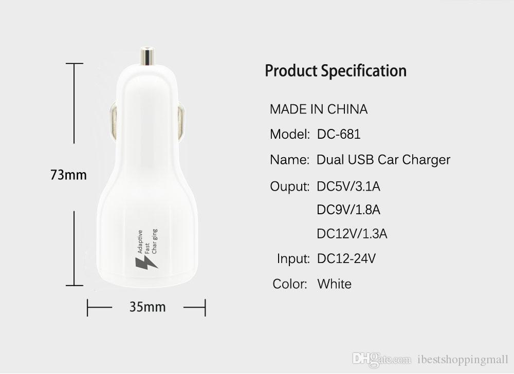 QC 3.0 Fast Car Charger 3.1A Quick Car Phone Charger LED