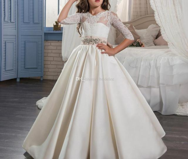 Elegant First Holy Communion Pageant Dress For Girls With Sleeves Children Graduation Dress Gown Govestido De Daminha 2017