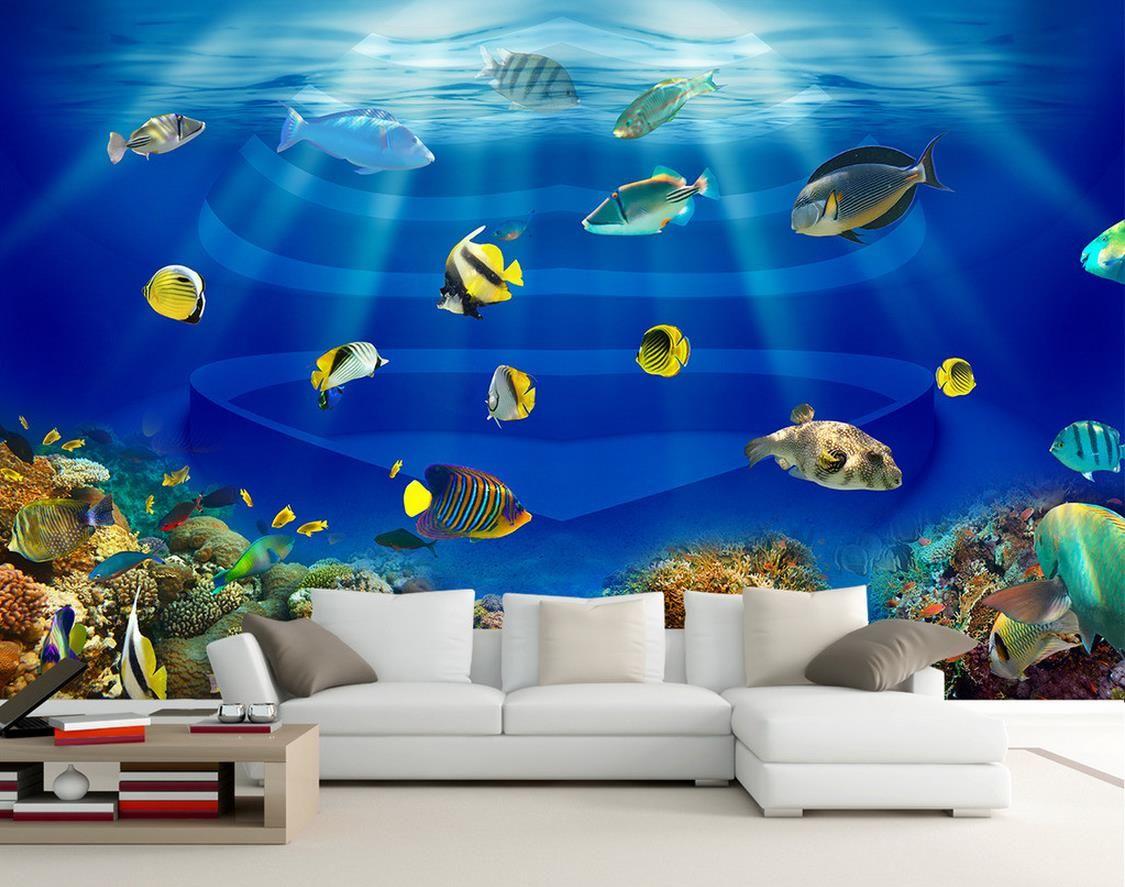 ocean world heart shaped fish tank tropical fish 3d stereo tv mural