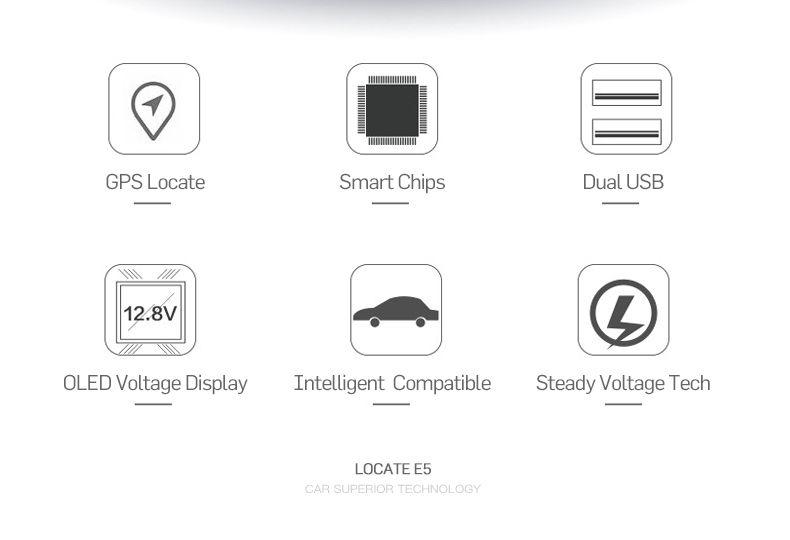 Locate E5 Smart Car Charger Dual USB Car Adapter LED