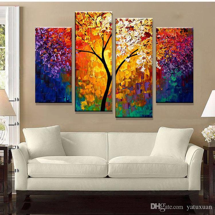 bright life tree picture painting handmade modern abstract oil