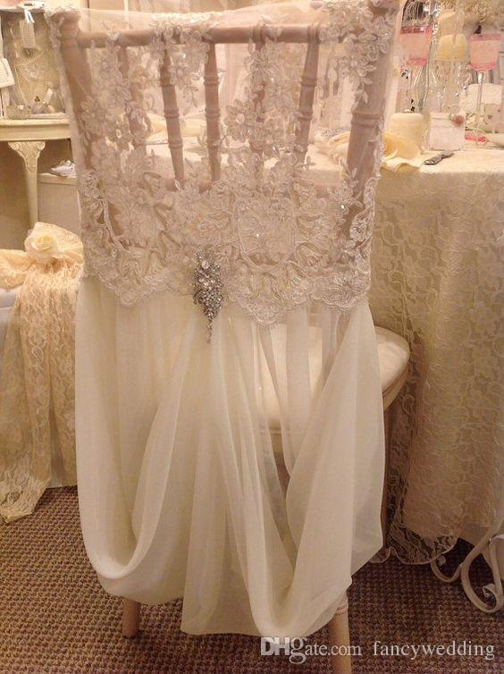 chair covers vintage cover hire north devon 2019 custom made 2017 ivory lace chiffon crystal romantic sashes beautiful fashion wedding decorations from fancywedding