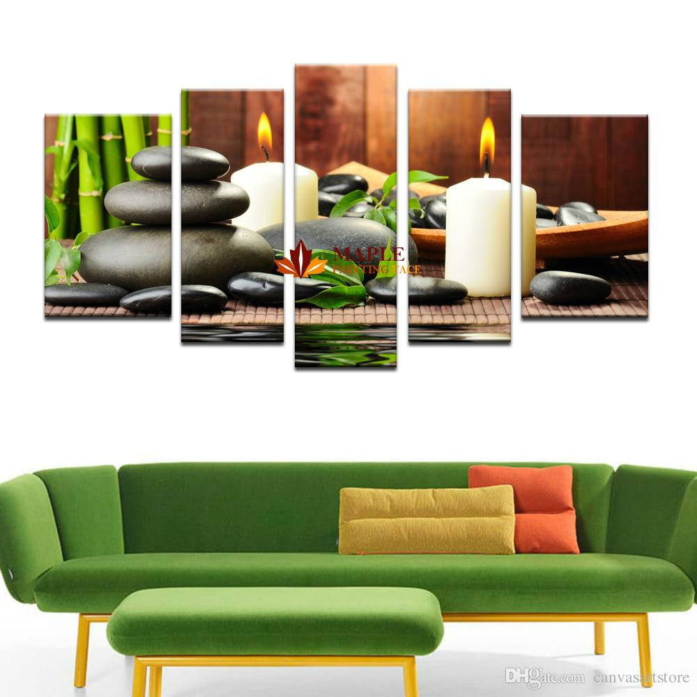 large canvas art for living room how to buy furniture 2019 5 panel botanical green feng shui white candle wall painting on pictures home decor from