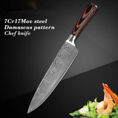 Professional Kitchen Knives Pub Style Set High Quali Chef Knife 8 Japanese Stainless Steel Imitation Damascus Pattern Sharp Slicing Gift To Go