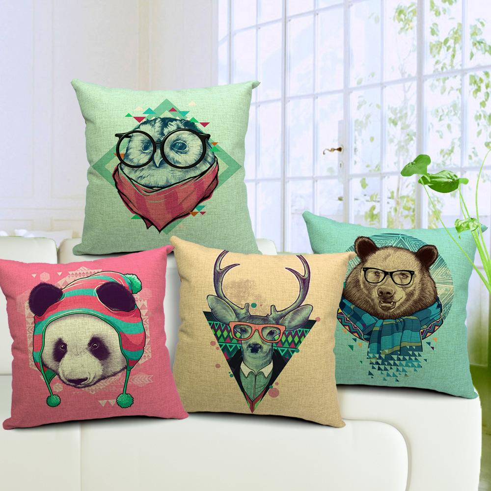 pillow covers for living room ideas decorating empty corners 4 designs owl deer bear panda cushion square cotton linen cover hand painted throw cases bedroom sofa decor porch cushions