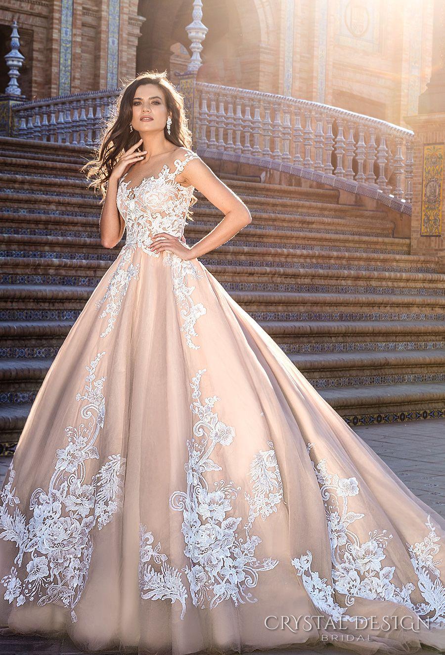 Blush Ball Gown Wedding Dresses 2017 Crystal Design Bridal