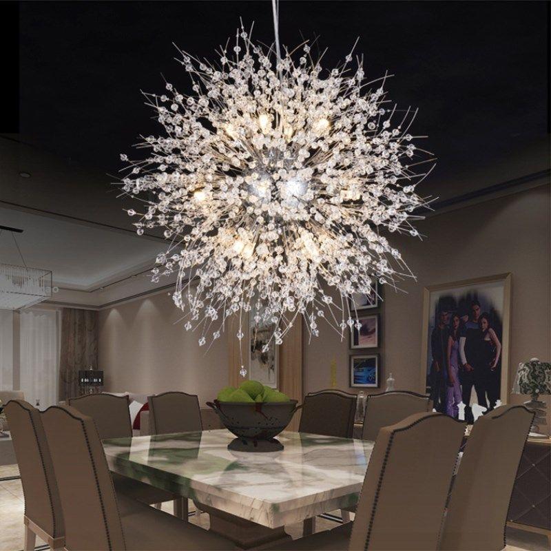ceiling light fixtures for living room arc lamp modern dandelion led crystal chandeliers lighting globe ball pendant dining bedroom fixture overstock