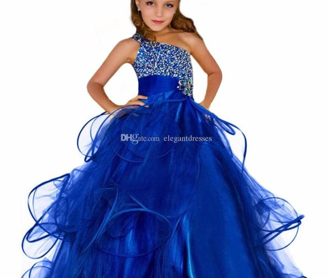 Beaded Elegant Curvy Pageant Dresses For Girls Fluffy Long Kids Prom Dress Royal Blue Pageant Ball Gown Dress For Flower Girls Christening Dresses