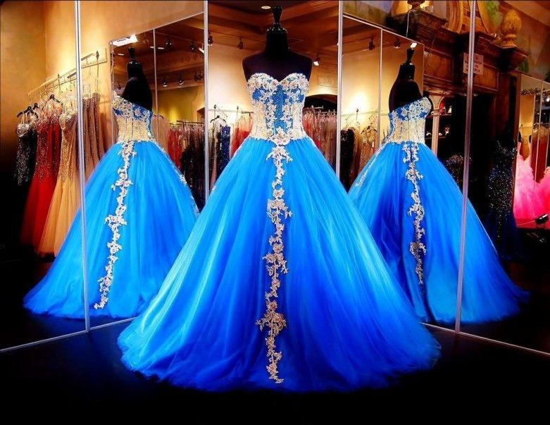 2017 Formal Blue Sweet Sixteen Dresses Evening Wear