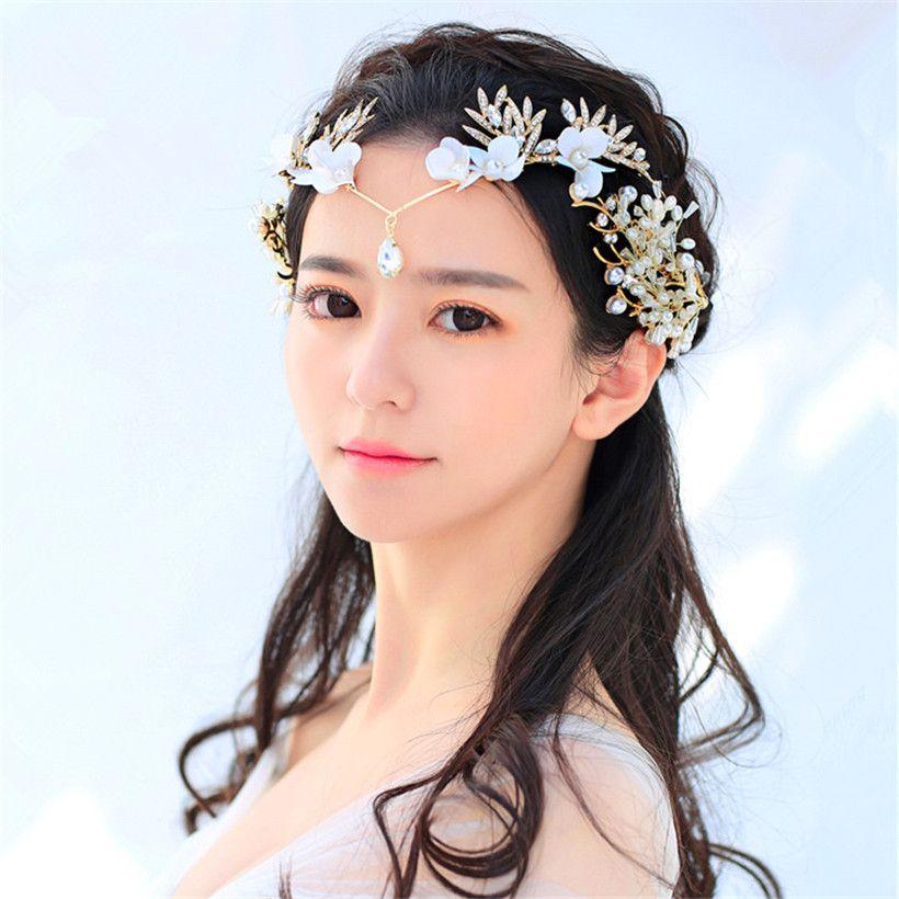 Princess Queen Forehead Headband Vintage Wedding Bridal