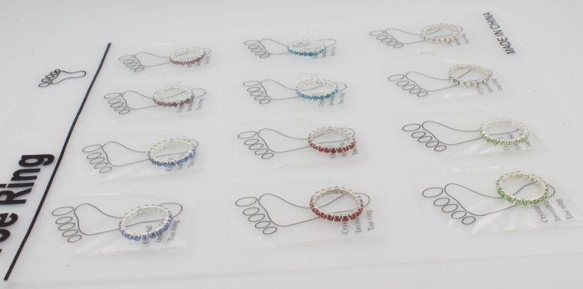 Compre 12 UNIDS Nueva Moda Toe Anillos Plata / Cristales