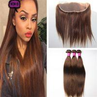 Color #4 Medium Brown Straight Virgin Hair Bundles With ...