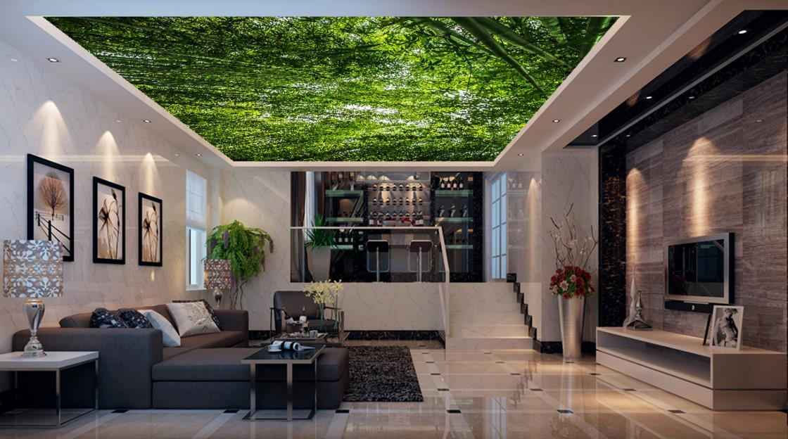 soundproof living room paint ideas for with accent wall wallpaper 3d nature green forest landscape ceiling home improvement murals background wallpapers