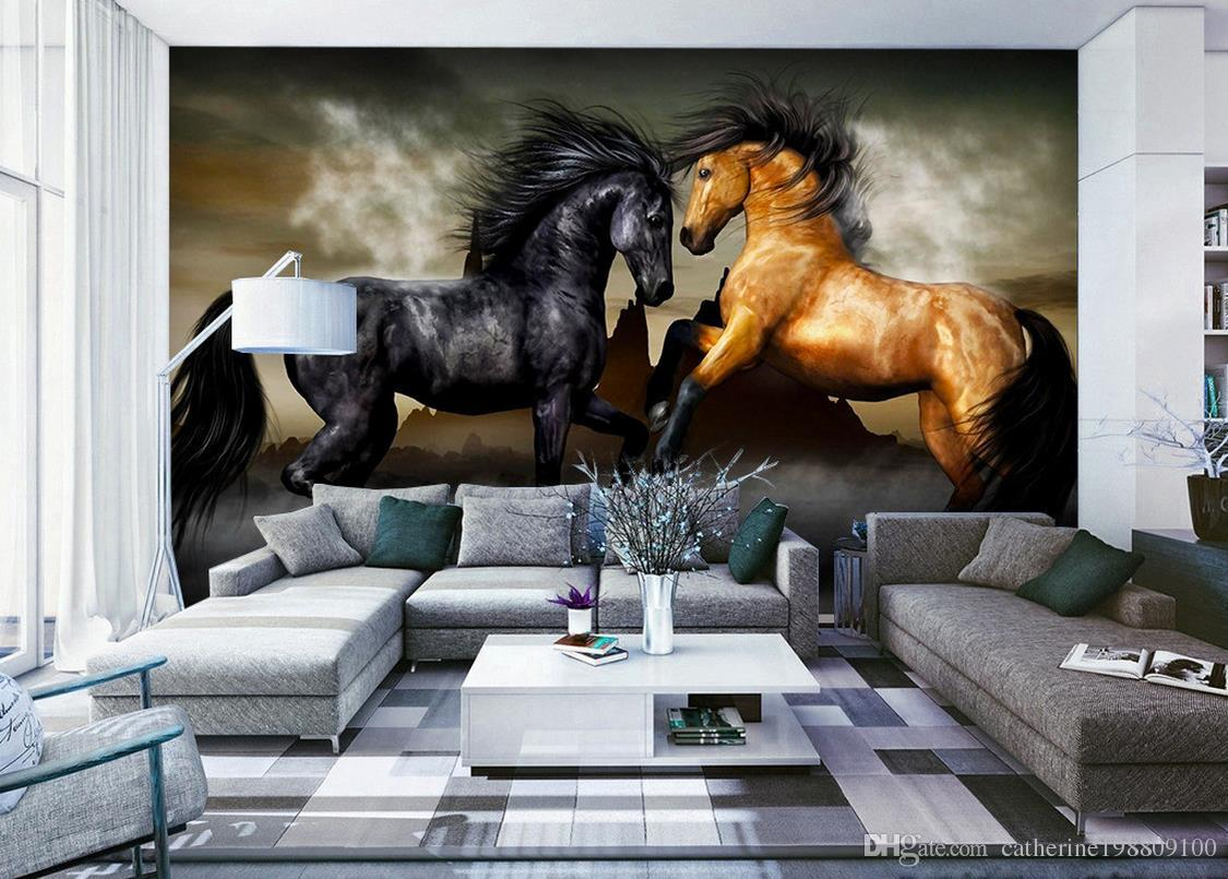 3d Stereoscopic Mural Wallpaper Home Decor Natural Art Background Wall Painting Horses 3d