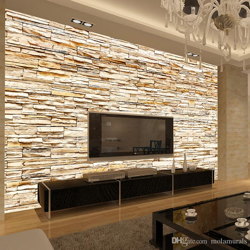 wallpaper living room wall mirrored round accent side end table non woven fashion 3d stone bricks mural for sofa background walls home gold decor discount download