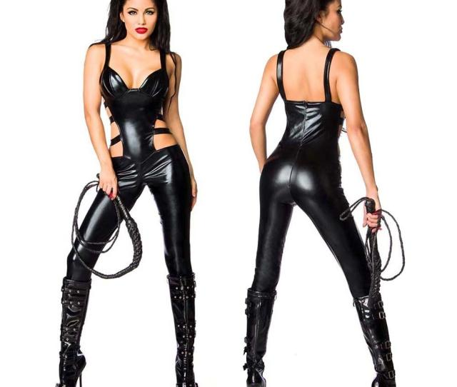 2019 Sexy Faux Leather Womens Catsuit Waist Side Cut Out Jumpsuit Crotchless Bodysuit Wetlook Halloween Cosplay Costume From Fashionqueenshow
