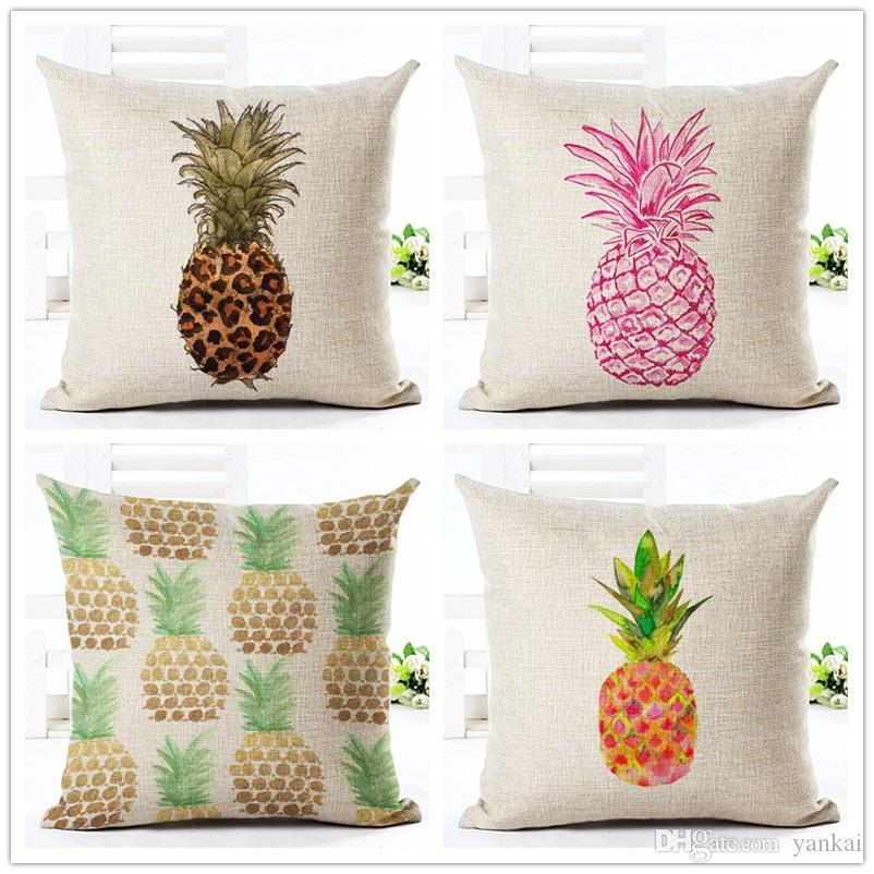 outdoor chair cushion covers australia steelers high quality fashion style cotton linen cover painted pineapple fruit pattern home decor bed car throw pillows decorative cojines blue