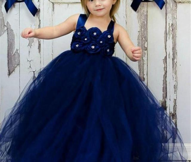 Cheap Navy Blue Ball Gown Flower Girl Dress Bead  Year Old Little Gowns Vintage Girls Pageant Dresses Simple Childrens Bridesmaid Dresses Communion Shoes