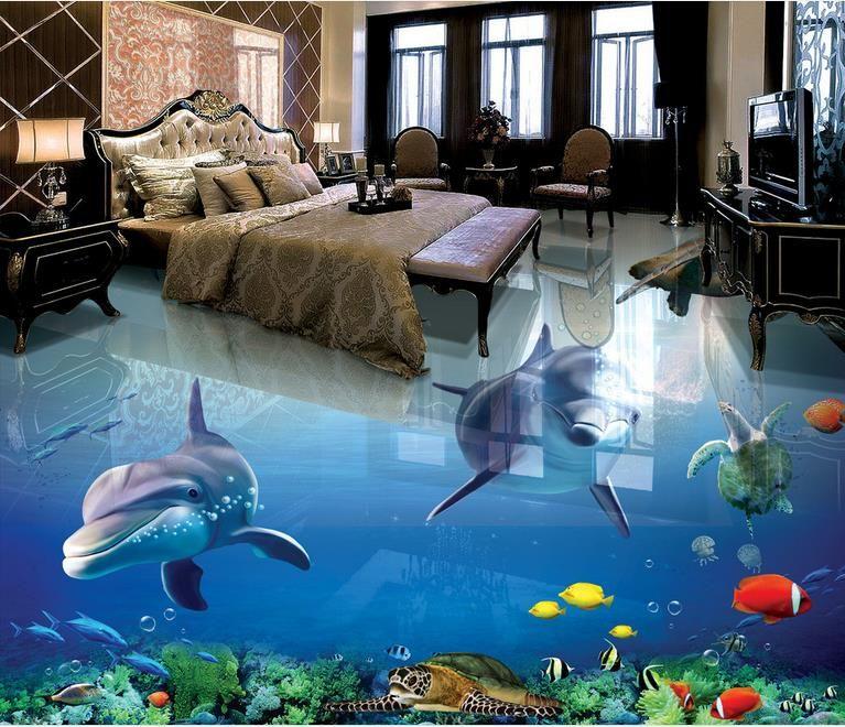 3d Floor Wallpaper Murals Custom 3d Photo Dolphin