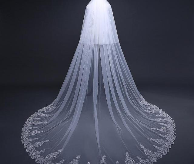 Cathedral Length  Meters Ivory Wedding Veils Lace Applique Edge With Comb Veu De Noiva Long Bridal Veils Sv Cathedral Veils With Crystals Chapel Length