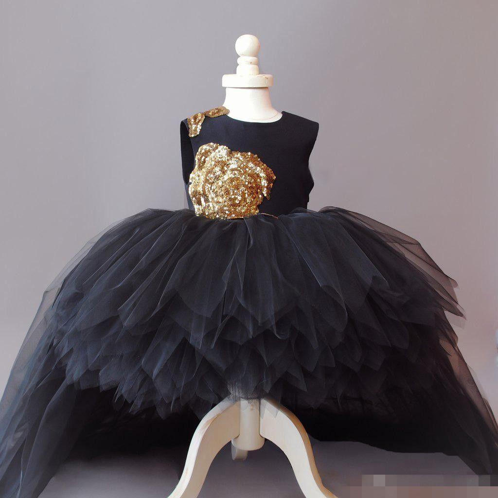 Cupcake Gold Sequins Flower Girl Dresses Tulle Long Hi Lo
