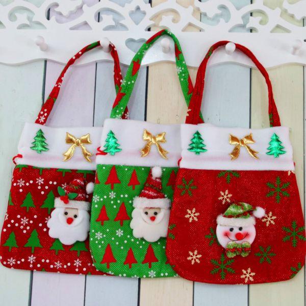 Drawstring Canvas Christmas Gift Candy Bags Christmas Bags