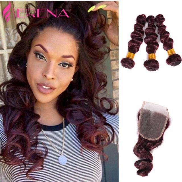 burgundy peruvian loose wave 3 bundles burgundy human hair weave bundles red wine 99j virgin hair with 4x4 closure 4pcs lot