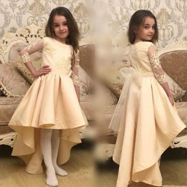 Vintage Champagne High Little Kids Flower Girl Dresses