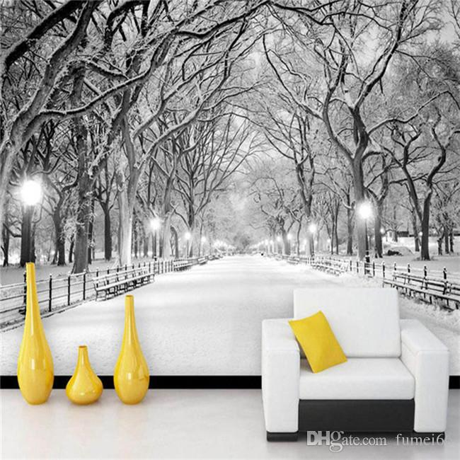 black and white wallpaper ideas for living room chairs bad backs snow landscape photo mural 3d stereo bedroom backdrop wall home decor papel de parede free