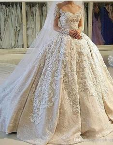 Usa canada vintage ball gown wedding dresses  illusion neckline sheer  appliques long sleeves dress customized bridal gowns also rh dhgate