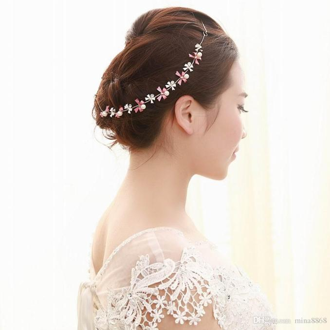 top quality crystal bridal headband silver color rhinestone flower tie headchain wedding hair jewelry accessories party gift wholesale