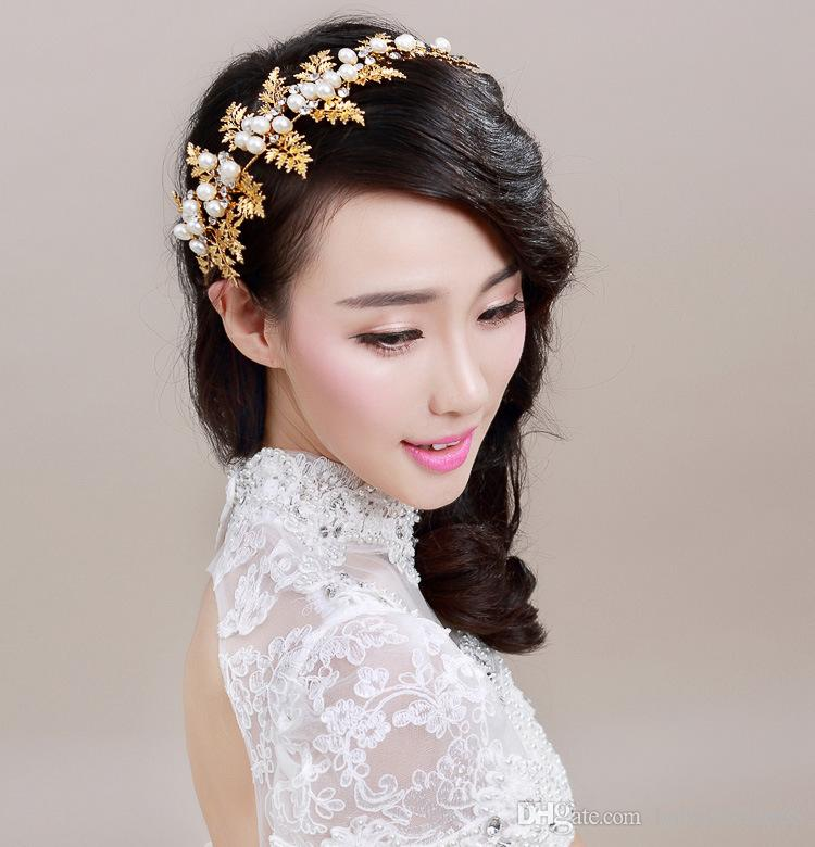 gold leaves rhinestone bridal hair accessories faux pearl bride wedding hair pieces 2018 new charming headbands bridal accessories hair clips for babies