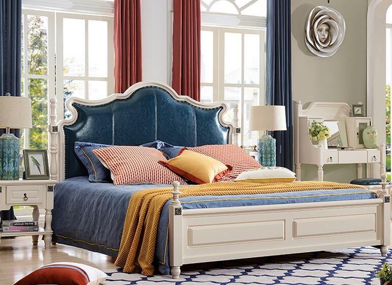 acheter couleur bleue en bois massif design americain antique meubles de chambre a coucher king size queen size de 552 77 du cicero dhgate com
