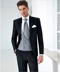 Black Suits Silver Vest Tie White Handkerchief Fashion Men ...